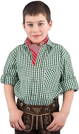 Isar-Trachten Camisa tradicional para niños 52915, camisa para niños y jóvenes, camisa tradicional verde a cuadros