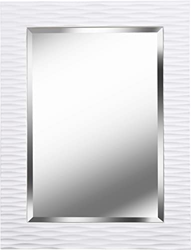 Kenroy Home Kenroy 60024 Transitional Wall Mirror from Kendrick Collection in White Finish, 38.5 Inch Height, 1.5 Inch Width