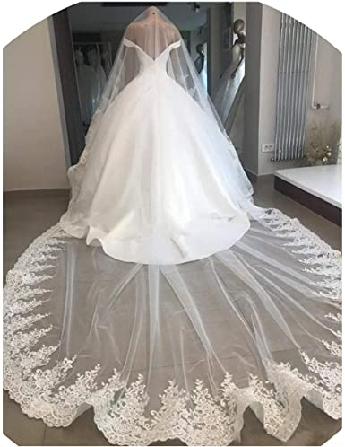 Real Photos 2019 White//Ivory Wedding Veil 3M With Comb Lace Beads Mantilla Bridal Veil Wedding Accessories