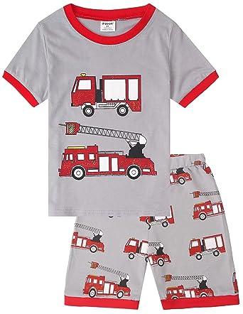 5c94a1838563 Boys 2 Piece Fire Truck Pyjama Sets Short Sets Size 6 Months-7 Years ...