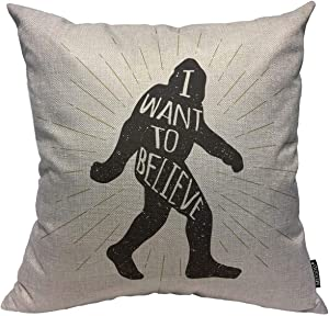 Mugod Throw Pillow Cover Black Animal Bigfoot Yeti Sasquatch with I Want to Believe Lettering Yellow Ape Beast Home Decor Square Pillow Case for Men Women Bedroom Cushion Cover 18x18 Inch