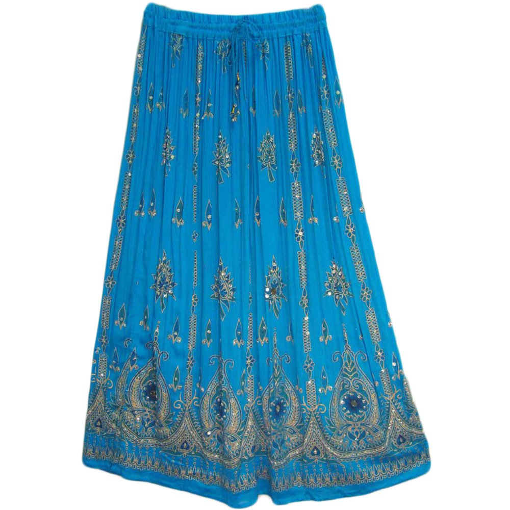 Yoga Trendz Womens Sequined Crinkle Broomstick Gypsy Long Skirt