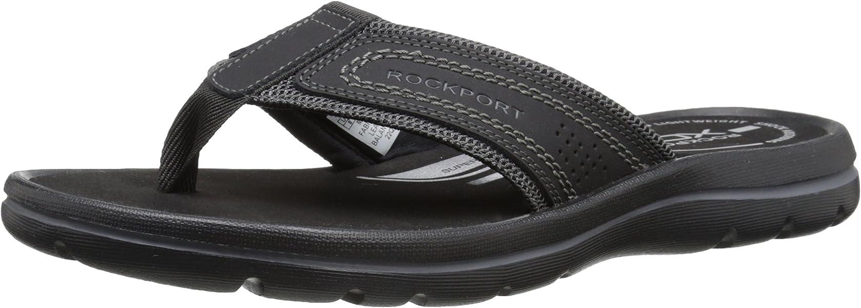 a03a5bca6b04 Rockport Men s Get Your Kicks Sandals Thong Black Grey 7 M (D)-