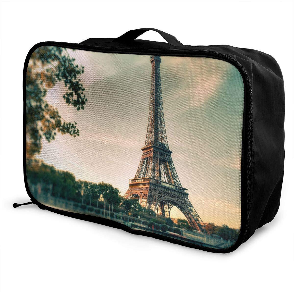 Travel Luggage Duffle Bag Lightweight Portable Handbag Eiffel Tower Painting Large Capacity Waterproof Foldable Storage Tote