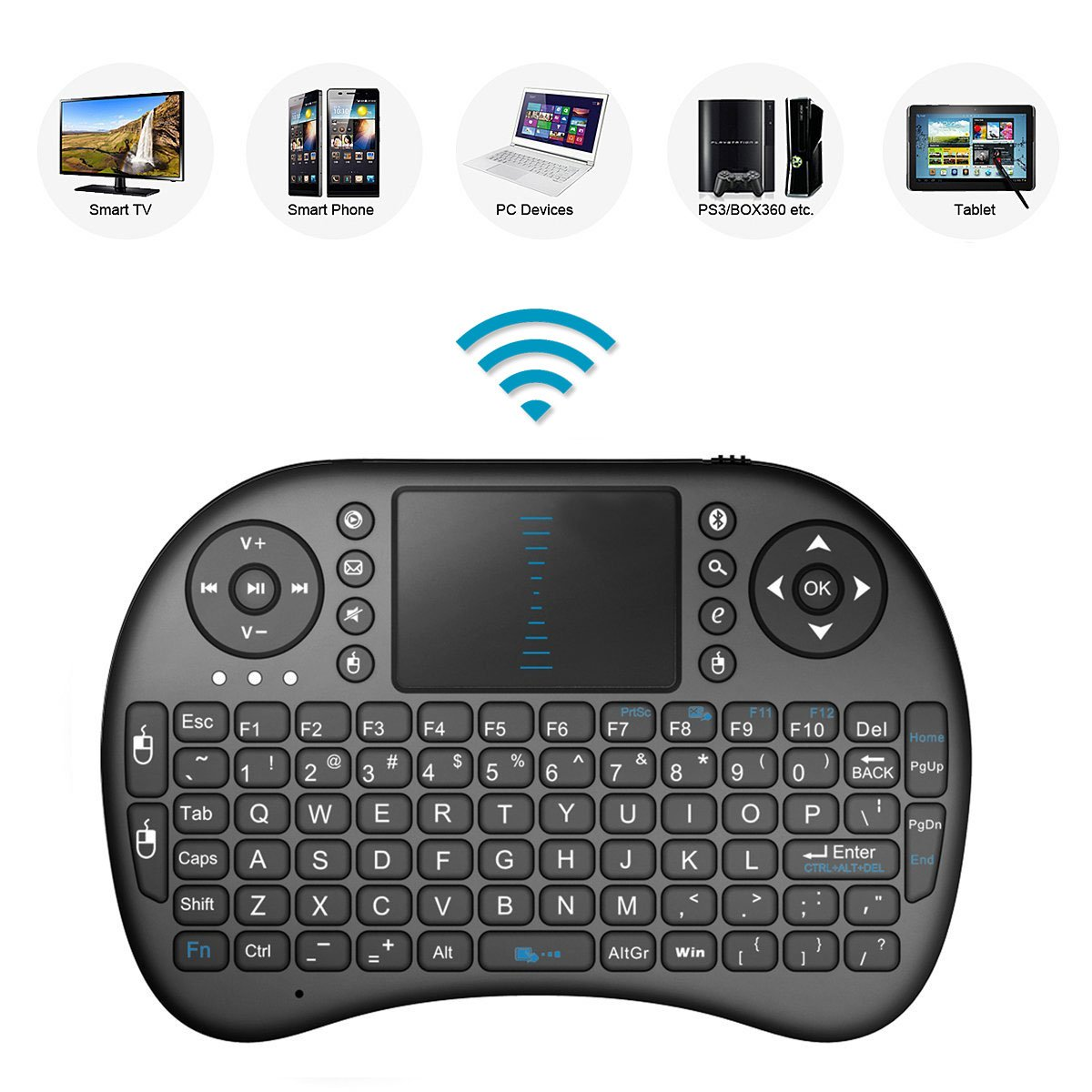 2.4GHz ミニ モバイル ワイヤレス キーボード タッチパッド付き リモコン 充電式リチウムイオンバッテリー LG 28TK420S-PZ 28インチ用 B07P9T634V