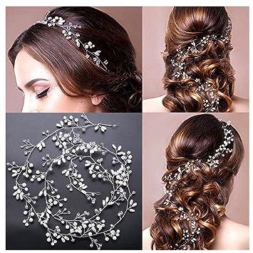 Amorar Kristall Haarkette Flechtfrisur Haarband Hochzeit Perlen