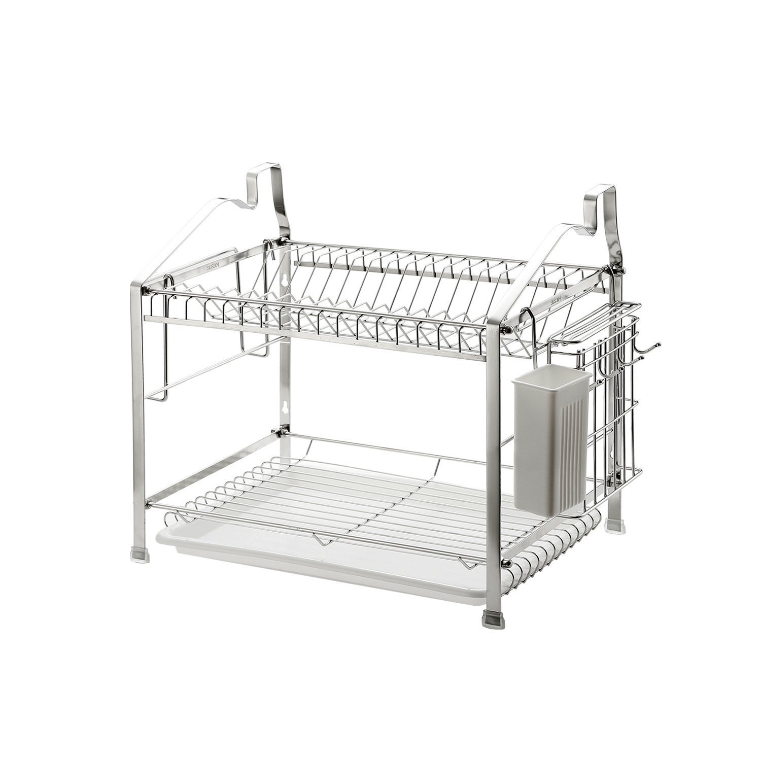 Dish Drying Rack Dish Drainer Kitchen Storage Organization, Stainless Steel, GEYUEYA Home (2-Tier)
