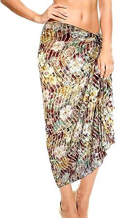 0a13661c54 LA LEELA Cover up Dress Floral Women Skirt WRAP Sarong Pareo 69X43 Inch  Valentine Maroon: *LA LEELA: Amazon.co.uk: Clothing