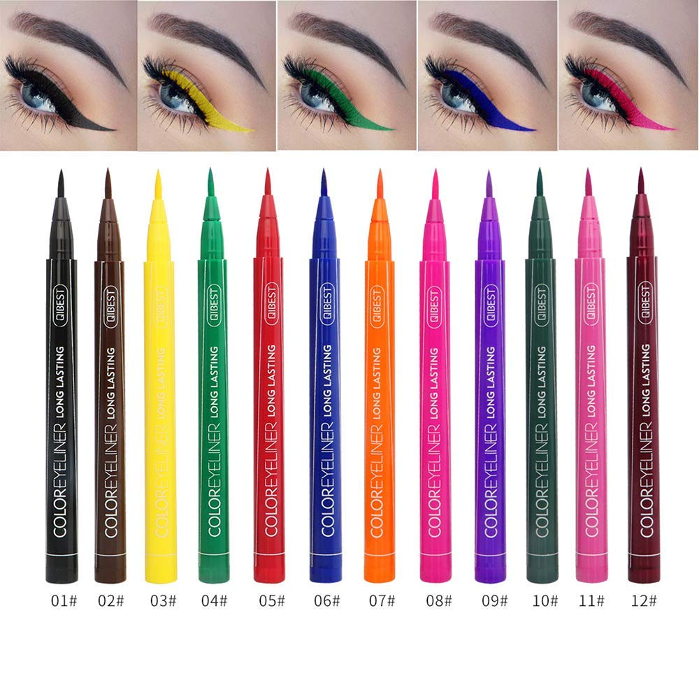 Neon Liquid Eyeliners, QIBEST Matte Bright Colorful Eyeliner Set 12 Colors Waterproof High Pigment Smudgeproof Long Lasting Liquid Eye Liner Pen Set (Gift Set) by QiBest