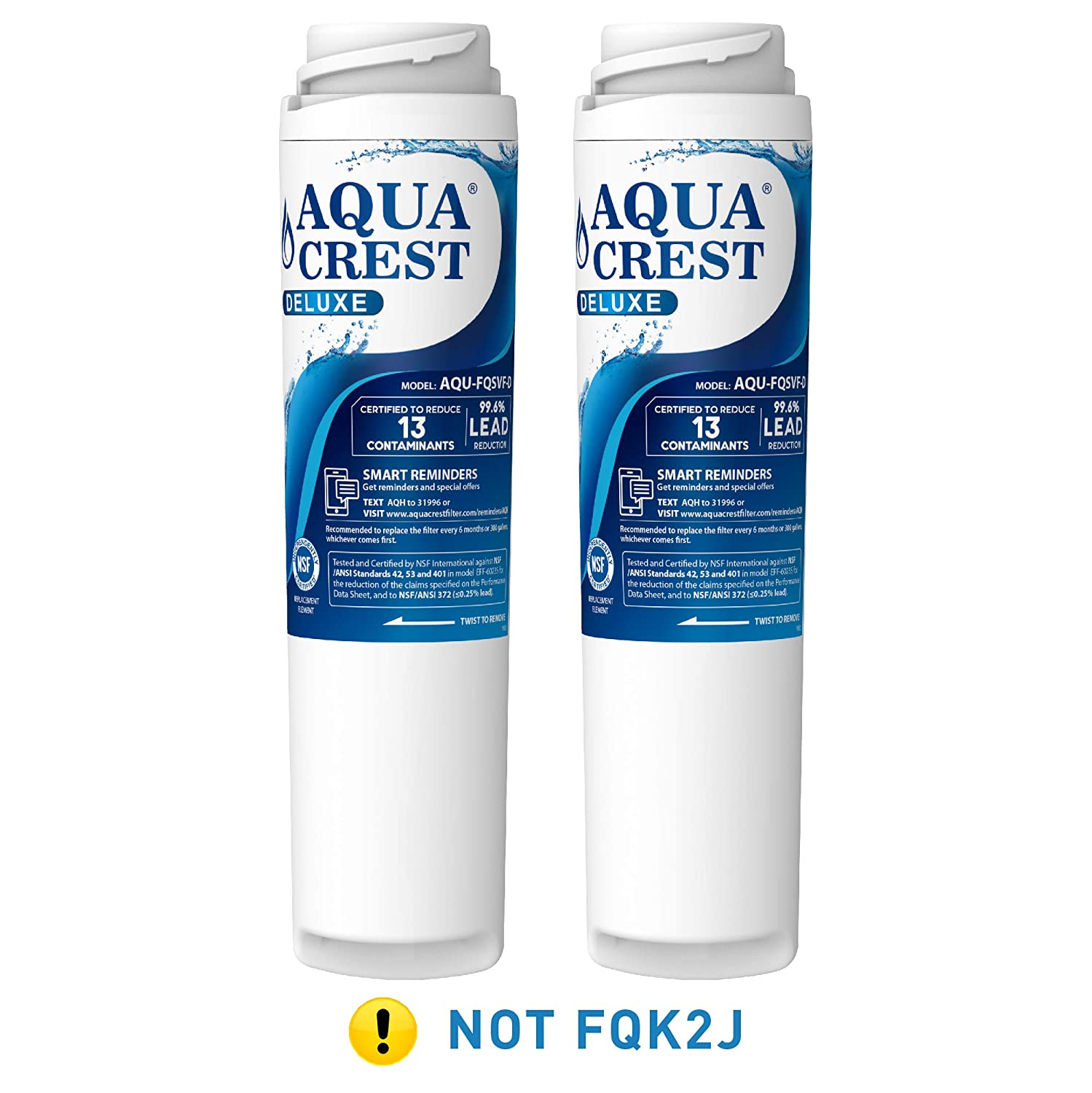 AQUACREST FQSVF NSF 401,53&42 Certified to Reduces Lead, Chlorine, Taste & Odor, Cyst, Benzene and More, Compatible with GE FQSVF, GXSV65R (1 Set)