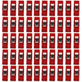 PANYTOW Sewing Craft Quilt Binding Plastic Clips Clamps Pack of 50 Clear and Red