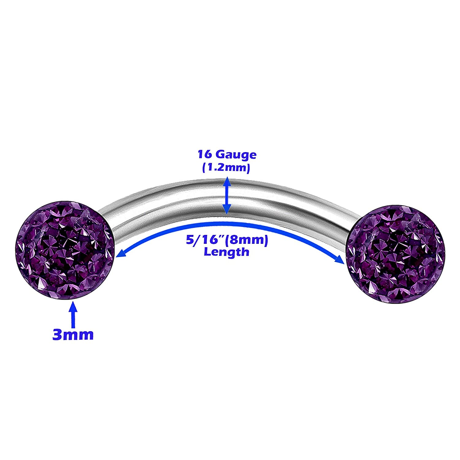 1 Pc Purple 16G wWith 5//16 8 mm Surgical Steel Curved Eyebrow Barbell Aurora Borealis Coating Acrylic Ball