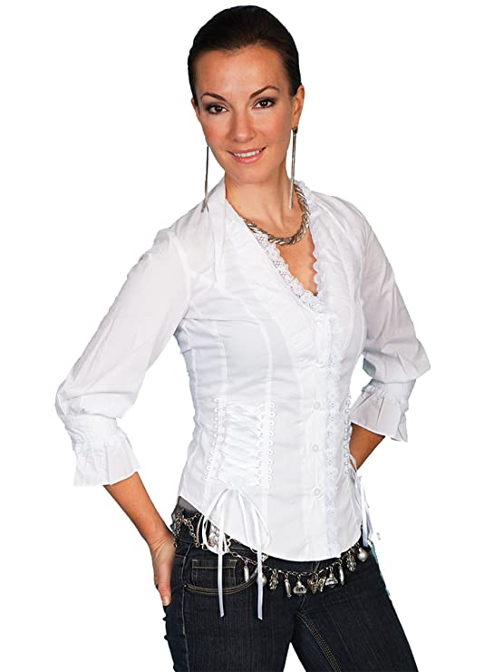 Victorian Blouses, Tops, Shirts, Sweaters Scully Womens Lace Up Back 3/4 Length Top $54.49 AT vintagedancer.com