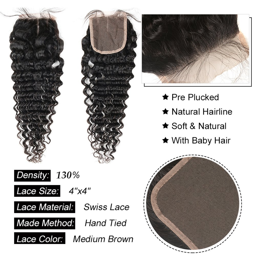 Brazilian 8A Deep Wave 3 Bundles with Closure Virgin Human Hair Bundles with 4x4 Middle Part Closure Unprocessed Virgin Human Hair Natural Black(20 22 24+18) by Miss GAGA (Image #4)