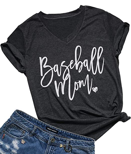 d5c39b88 Amazon.com: FAYALEQ Baseball Mom Shirt for Women V-Neck Letter Print Cute  Graphic Tees Casual Short Sleeve Tops Blouse: Clothing