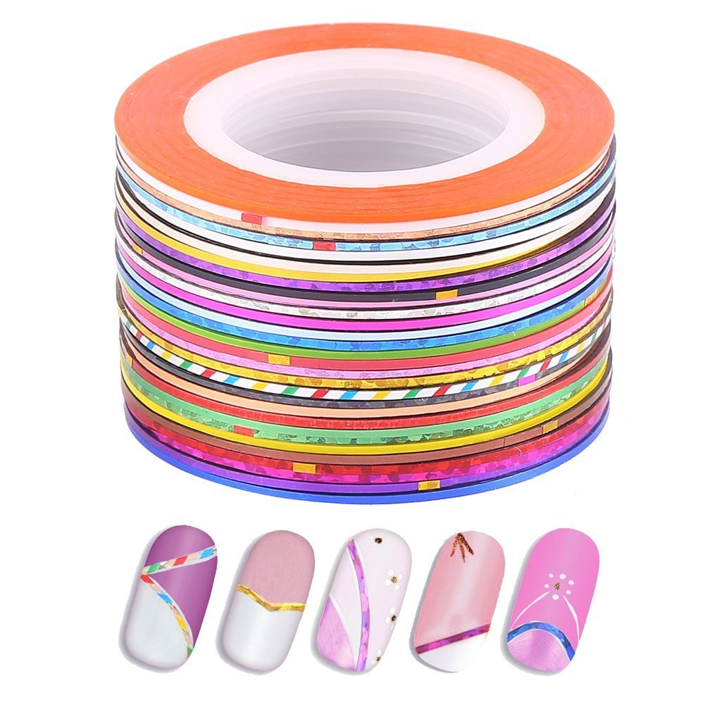 VEYLIN 30 Pieces Colorful Nail String Tapes Art Sticky Stripes for Nail Decoration Stickers