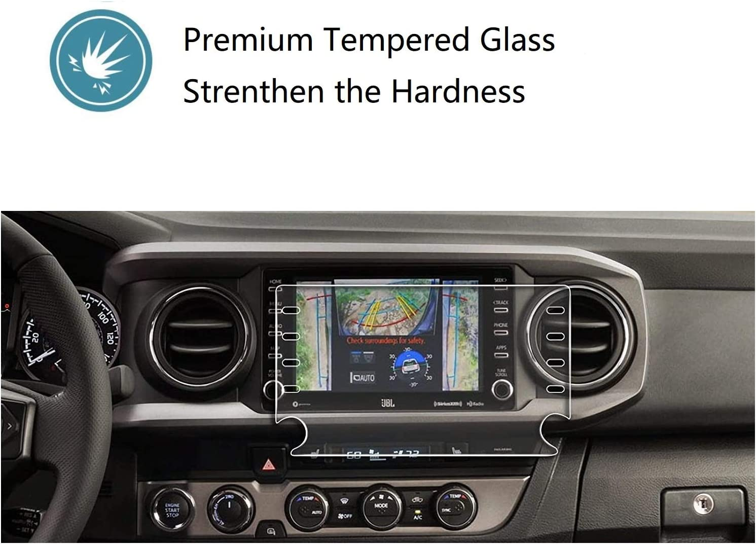 "ZFM Tempered Glass Screen Protector Compatible with Toyota Tacoma 2020,9H Hardness,High Definition,Protecting Toyota 8/"" Car Center Touch Screen"