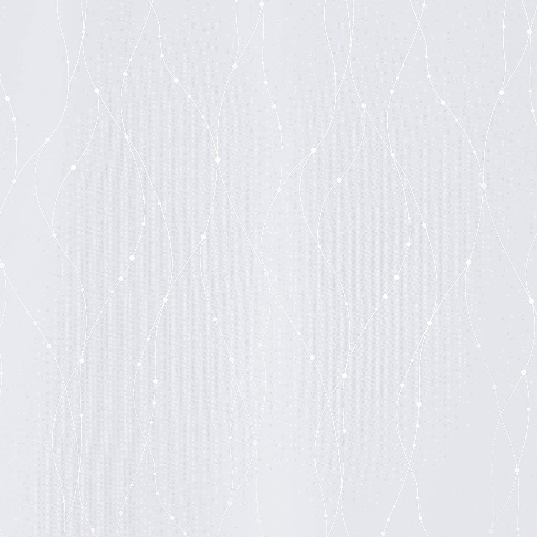 Deconovo Lot de 2 Rideaux Occultants Thermique Rideaux Motif Point Argent/é /à oeillet pour Chambre Bebe 117x138cm Bleu Marine