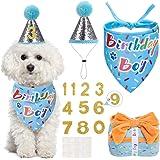 SCENEREAL Dog Birthday Bandana and Reusable Dog Birthday Hat with 0-8 Figures, Come with Squeaky Plush Birthday Gift Box…