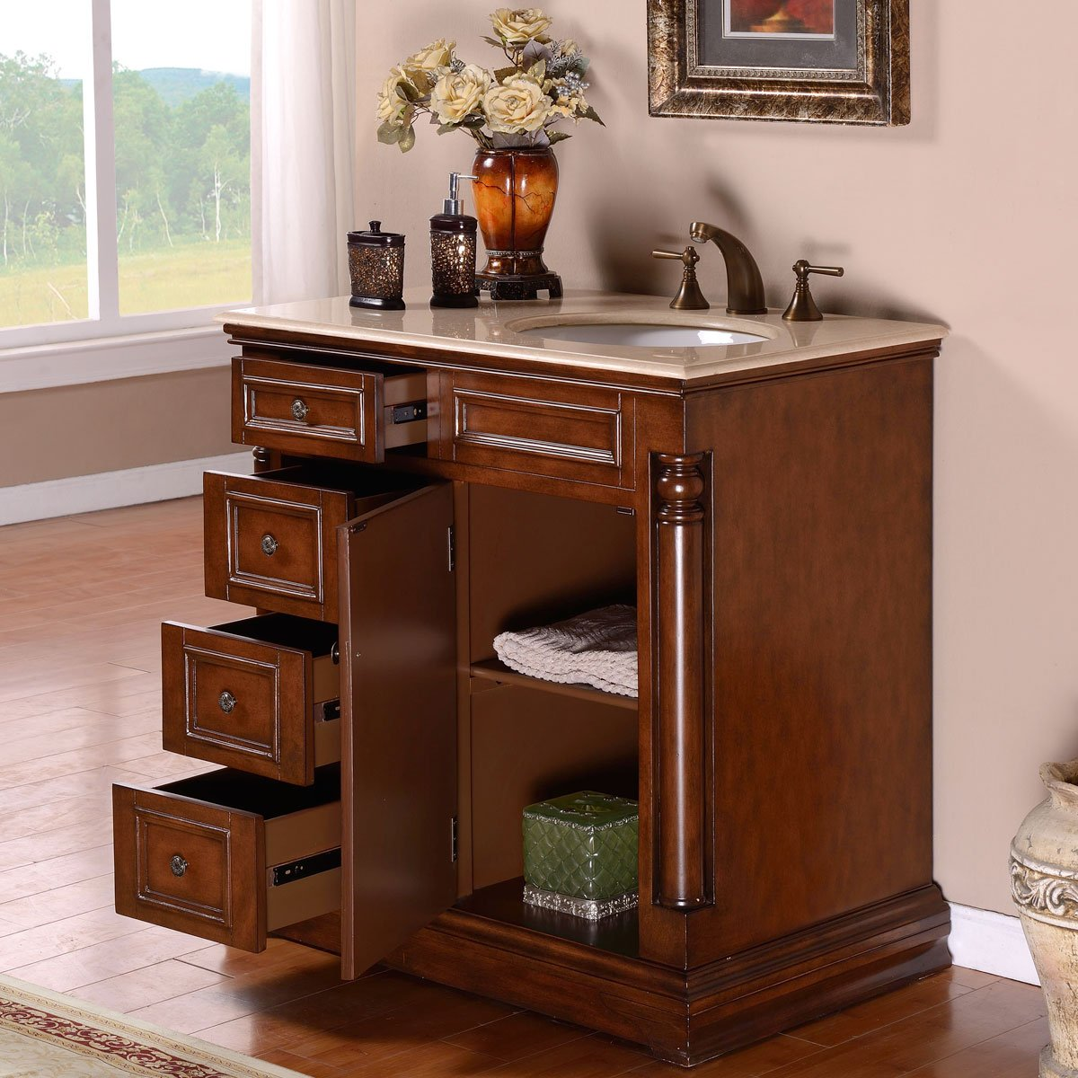 Silkroad Exclusive Single Right Sink Bathroom Vanity with Furniture Cabinet, 36-Inch by Silkroad Exclusive (Image #2)