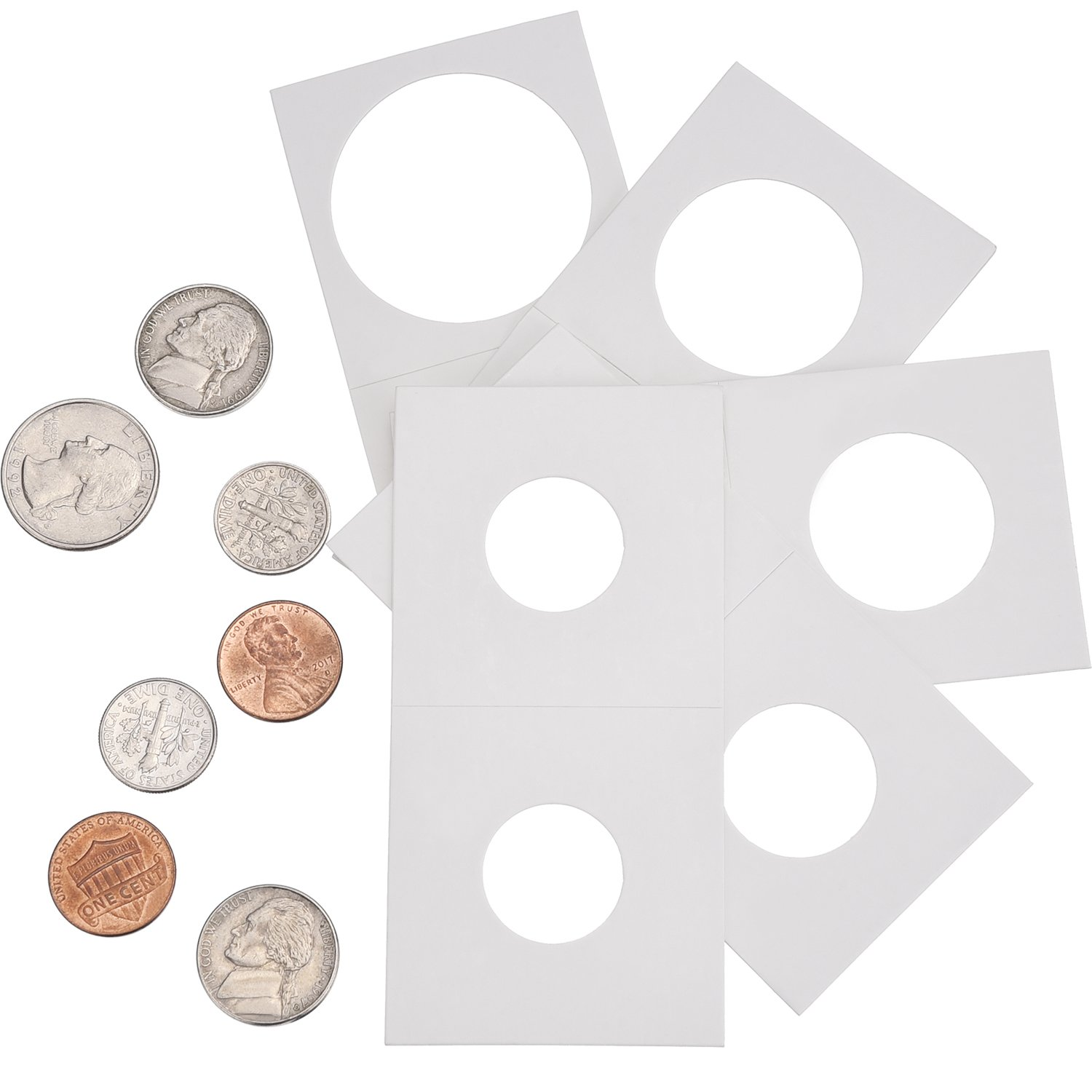 Hicarer 300 Pieces Cardboard Coin Holder Flip Mega Assortment, 2 by 2 Inch for Coin Collection Supplies (6 Sizes) by Hicarer (Image #7)