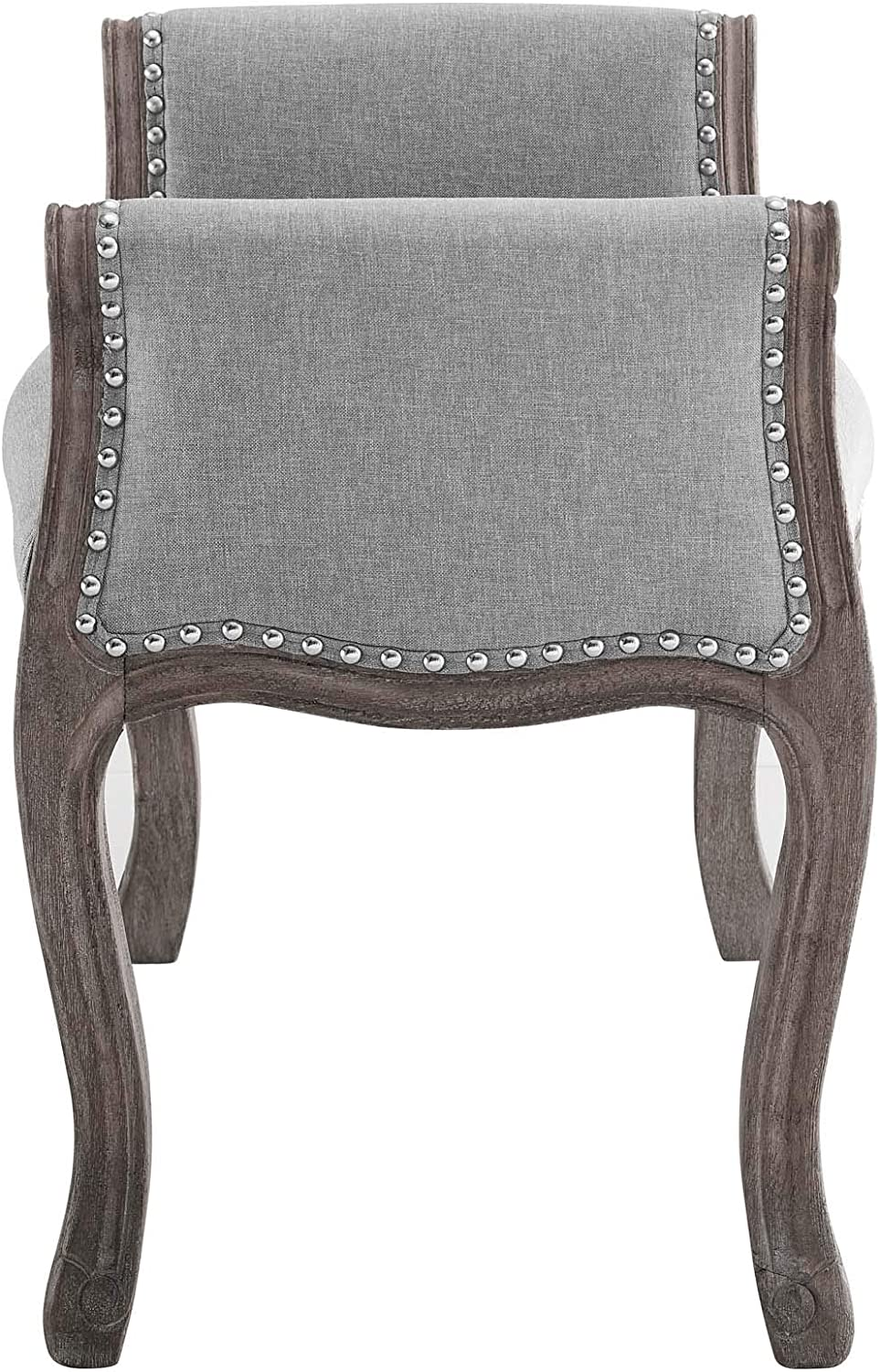 Modway Avail Vintage French Upholstered Fabric Entryway Bench in Gray