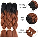 """Jumbo Braiding Synthetic Hair Ombre Color Long Kanekalon Braids Hair Extension Jumbo Braiding Hair for Twist 3 Tone(24"""", 3 Pack, Ombre Color)"""