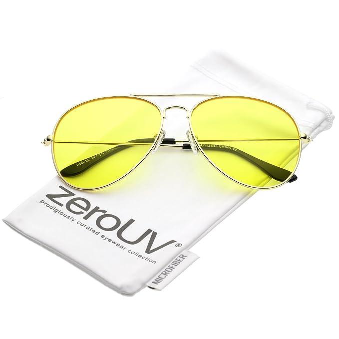 3c0d574da3 zeroUV - Oversize Metal Double Crossbar Yellow Tinted Driving Lens Aviator  Sunglasses 60mm (Gold