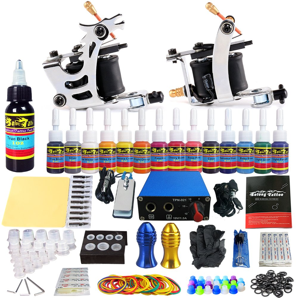 Solong Complete Starter Beginner Tattoo Kit 2 Pro Machine Guns 14 Inks Power Supply Foot Pedal Needles Grips Tips TK213
