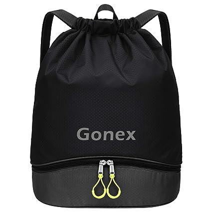 Gonex Mochila de Cuerdas Unisex con Bolsas Zapatos Impermeable para Gimnasio Deporte Yoga Senderismo Bicicleta Natación Viajes, Saco de Cordón Seco ...