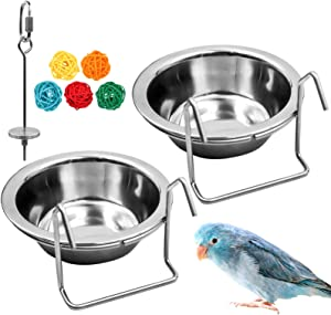 suruikei 2 Pack Bird Feeder Birds Bowls Stainless Steel Dishes Coop Cups with Wire Hook, Parrot Feeding Dish Cups Food Water Bowls with Bird Food Holder and Rattan Ball for Finches Lovebirds