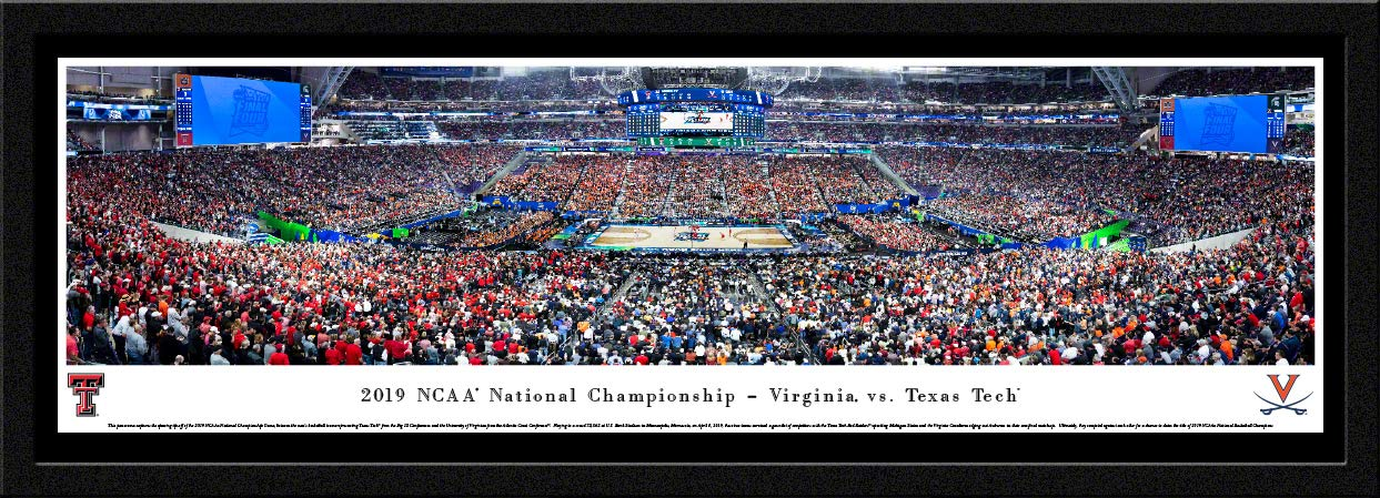 2019 NCAA Basketball Championship - Virginia vs Texas Tech - Single Mat, Select Framed Picture by Blakeway Panoramas by Blakeway Worldwide Panoramas, Inc.