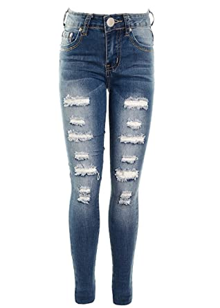 f0851eb495bd9 Fuchia boutique Girl's Multi Ripped Distressed Frayed Jean Stretch Skinny  Jeans Age 5-13: Amazon.co.uk: Clothing