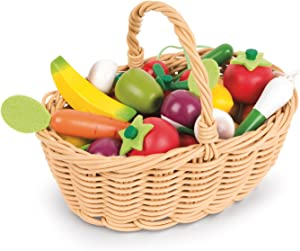 Janod 25 Piece Wooden Fruit and Vegetable Basket Set Play Kitchen Accessory for Pretend Play and Imagination Ages 3+