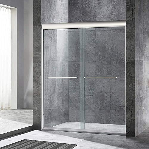 WOODBRIDGE 60 x 72 Double Sliding Frameless Shower 56 to 60 by 72 , Finish, MSDE6072-C, Bypass Door 60 x72 Chrome II
