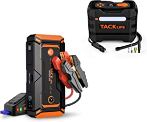 TACKLIFE T8 Pro 1200A Peak 18000mAh Water-Resistant Car Jump Starter (up to 7.5L Gas, 6L Diesel Engine)&12V DC Multifunctional Car Tire Inflator Air Compressor