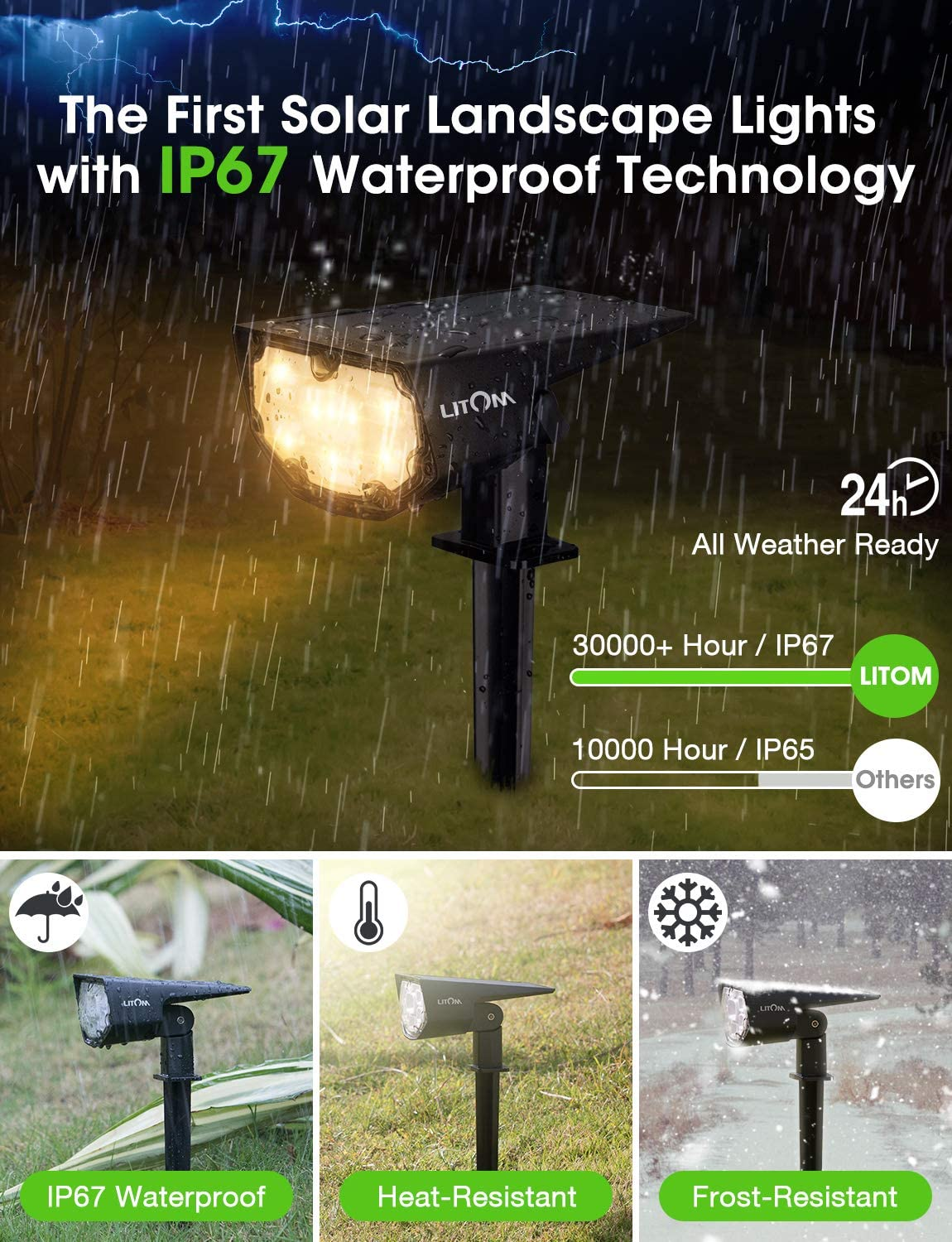 LITOM Multicolored 12 LED Solar Landscape Spotlights IP67 Waterproof Solar Powered Wall Lights 2-in-1 Wireless Outdoor Solar Landscaping Light for Yard Garden Driveway Porch Walkway Pool Patio 2 Pack