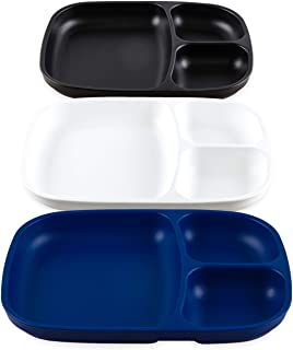 product image for Re-Play Made in USA - 3pk Deep Divided Heavy Duty Dining Plates with 3 Compartments for All Ages - Navy, White, Black(Droid) Eco Friendly Recycled HDPE - Virtually Indestructible!