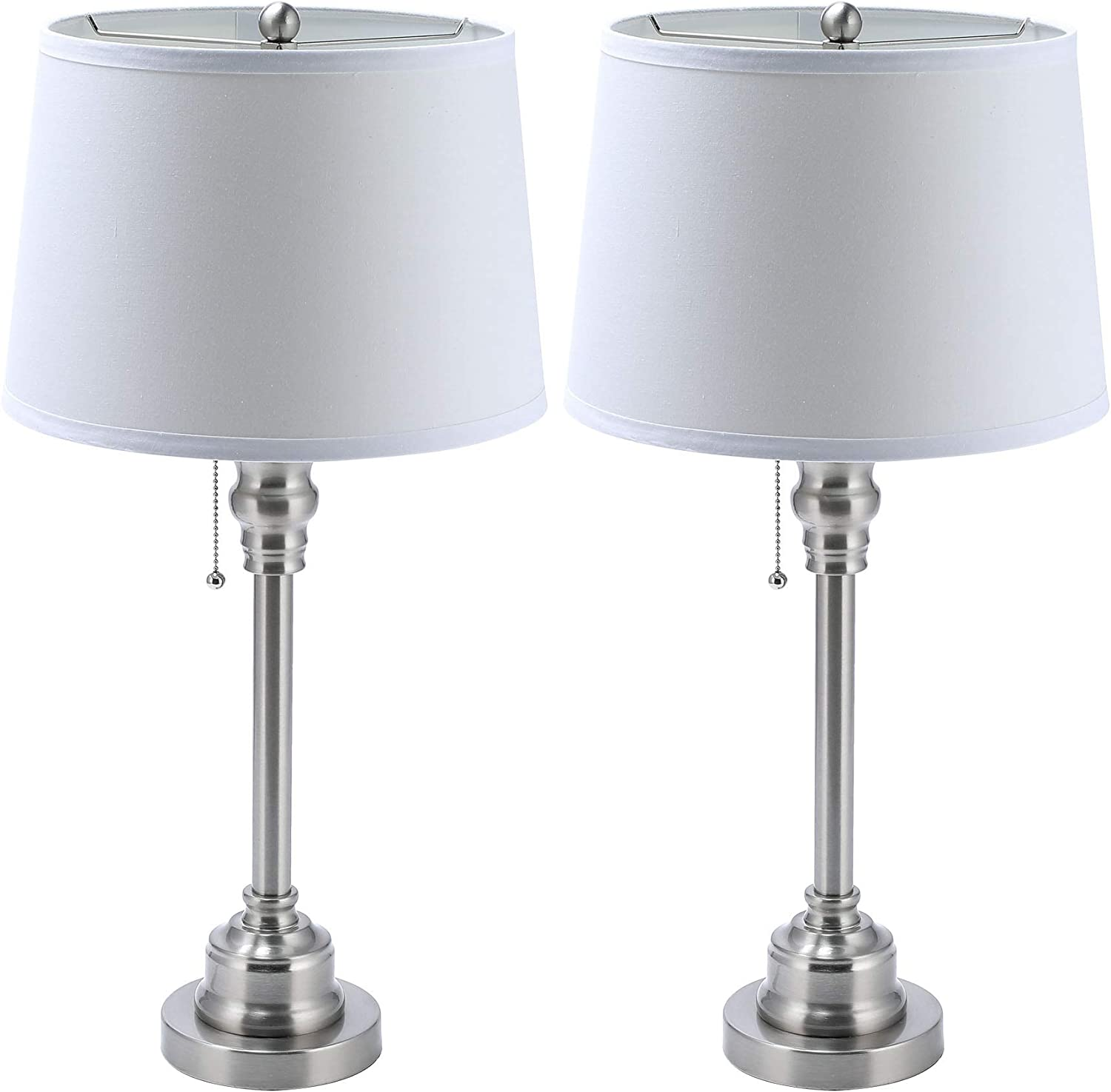 Co Z White Table Lamp Set Of 2 Modern Metal Desk Lamp In Brushed Steel Finish 26 Inches In Height Bedside Lamps For Office Bedroom Nightstand Accent Etl Table Lamp Set Of