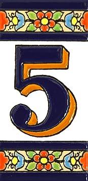 """Image ofNúmeros casa. Letreros con numeros y letras en azulejo de ceramica policromada, pintados a mano en técnica cuerda seca para placas con nombres, direcciones y señaléctica. Texto personalizable. Diseño FLORES MEDIANO 10,9 cm x 5,4 cm. (NUMERO CINCO """"5"""")"""