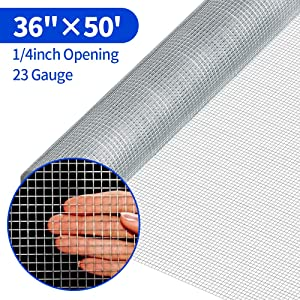1/4 Hardware Cloth 36 x 50 23 Gauge Galvanized Welded Wire Metal Mesh Roll Vegetables Garden Rabbit Fencing Snake Fence for Chicken Run Critters Gopher Racoons Opossum Rehab Cage Wire Window