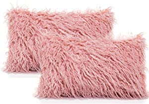 OJIA Luxury Series Style Faux Fur Throw Pillows Covers, 12x20 Inch, Pack of 2 Soft Plush Decorative Cushion Covers Mongolian Cute Pillowcases for Bed Living Room Sofa Car, Blush Pink