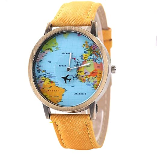2016 World Map Watch Watches Women Men Denim Fabric Watch Quartz Relojes Mujer Relogio Feminino Gift