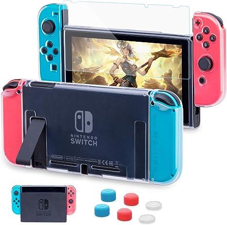 Carcasa Nintendo Switch, Funda Nintendo Switch con Protector de Pantalla para Nintendo Switch Console y Joy Cons con 6 Agarres para el Pulgar: Amazon.es: Videojuegos