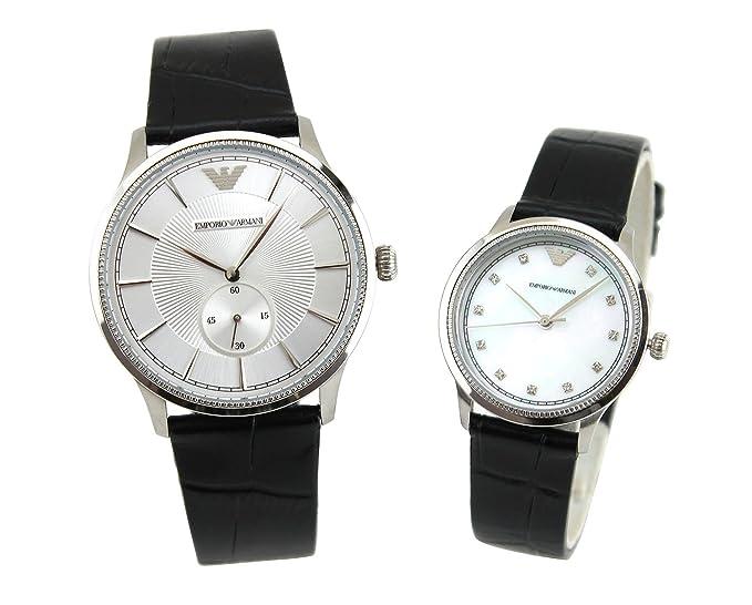 4f49c1e39e [エンポリオアルマーニ]EMPORIO ARMANI 腕時計 AR9111 ペアウォッチ レザー ブラック[並行輸入品