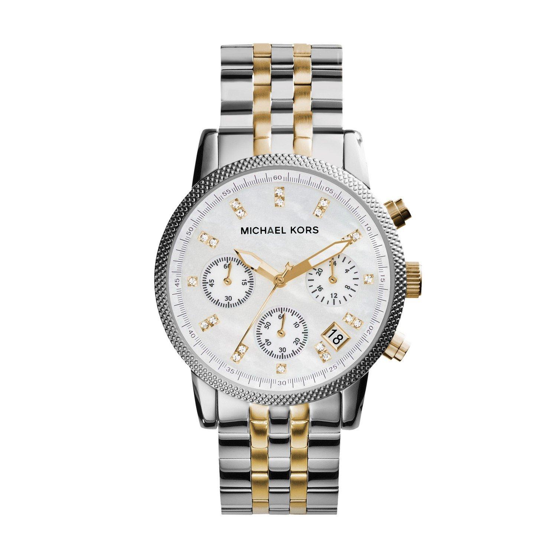0d431e8e9142 Amazon.com  Michael Kors Watches Two-Tone Chronograph with Stones  Michael  Kors  Watches