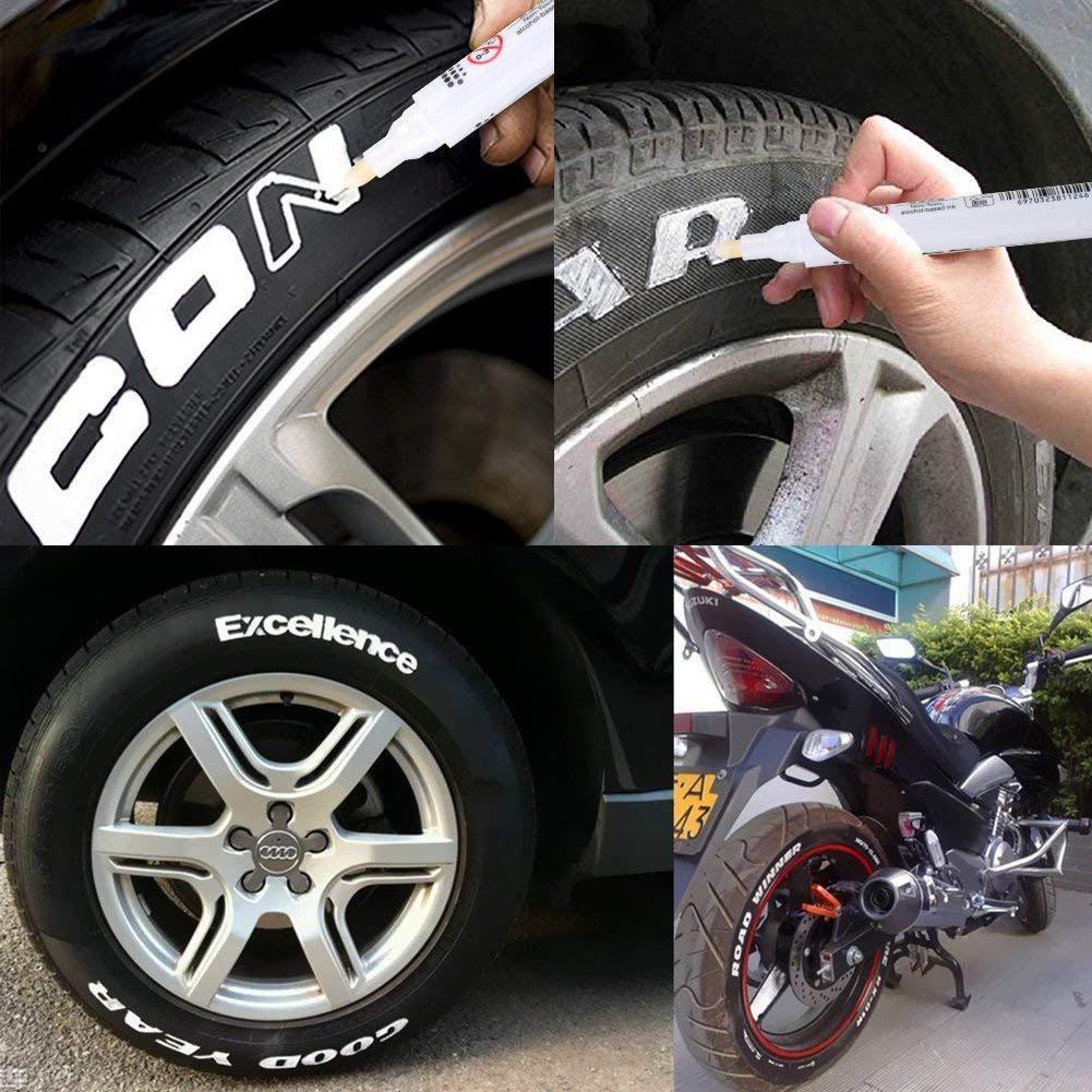AITOCO 10 UNIDS A Prueba de Agua de Neumáticos de Pintura Rotuladores, Blanco Rotulador de Pintura de Marcador Permanente Gran Idea para Coche Motocicleta ...