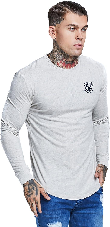 Sik Silk Hombre Longsleeved bajo redondeado Logo Gimnasio de la camiseta, Gris, Medium: Amazon.es: Ropa y accesorios