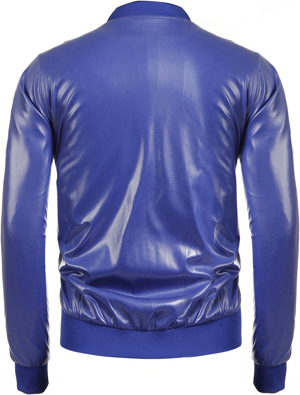 Jinidu Mens Metallic Jacket Nightclub Style Baseball Varsity Bomber Flight Coat