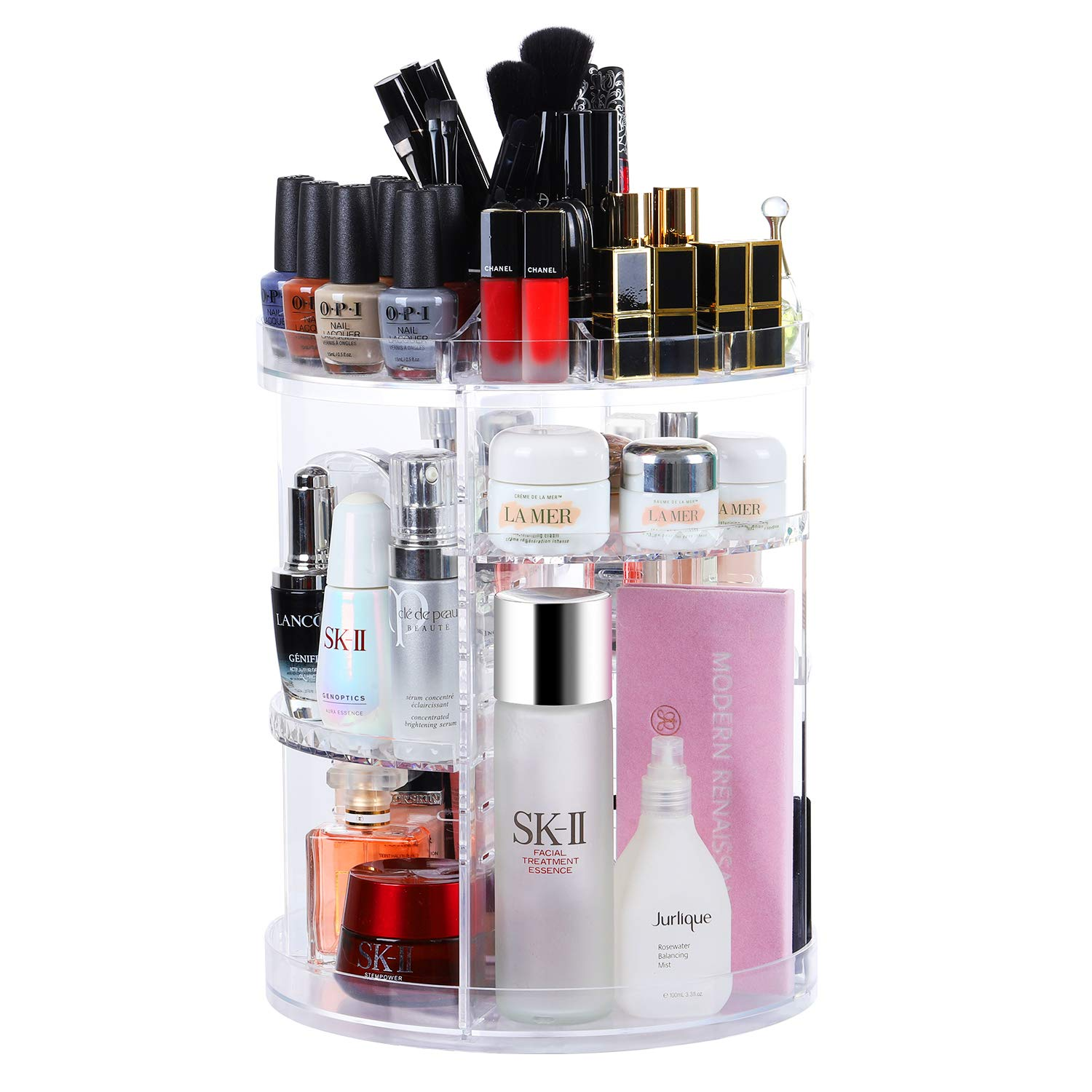 CECOLIC Rotating Makeup Organiser, 360 Degree Rotating Adjustable Cosmetic Storage Display Case with 8 Layers Large Capacity, Fits Creams, Makeup Brushes, Lipsticks and More, Clear Transparent